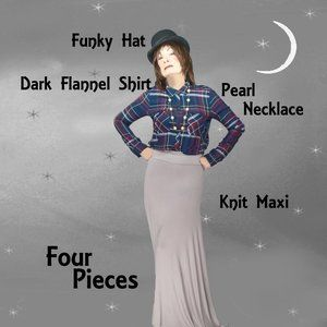 Eclectic Outfit, Dark Plaid Shirt, Slinky Knit Maxi, Felt Hat, Pearl Necklace